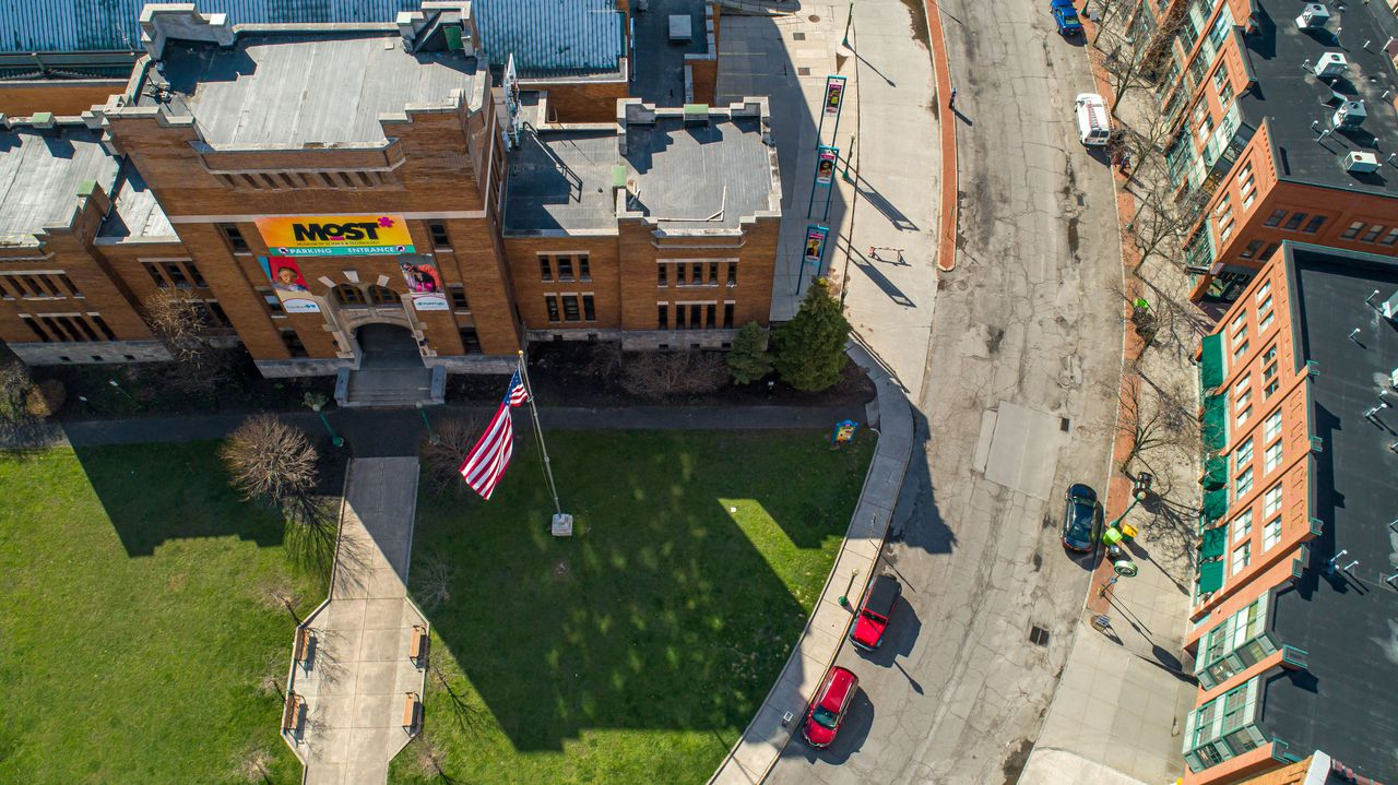 Above the MOST in Armory Square, Syracuse seems nearly empty as the stay-at-home order keep most away Wednesday, April 1, 2020. N. Scott Trimble | strimble@syracuse.com