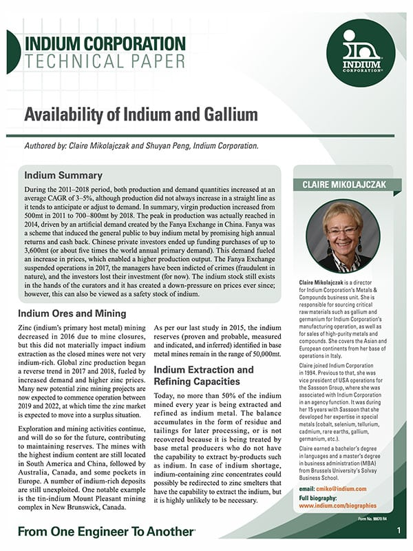 Click here to download the Availability of Indium and Gallium Whitepaper