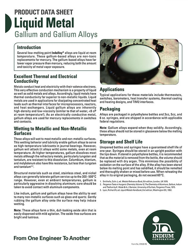 Click here to download Liquid Alloys Product Data Sheet