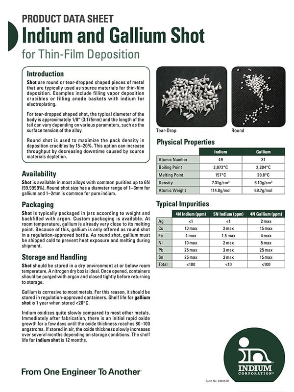 Click here to download Indium & Gallium Shot for Thin-Film Deposition Product Data Sheet