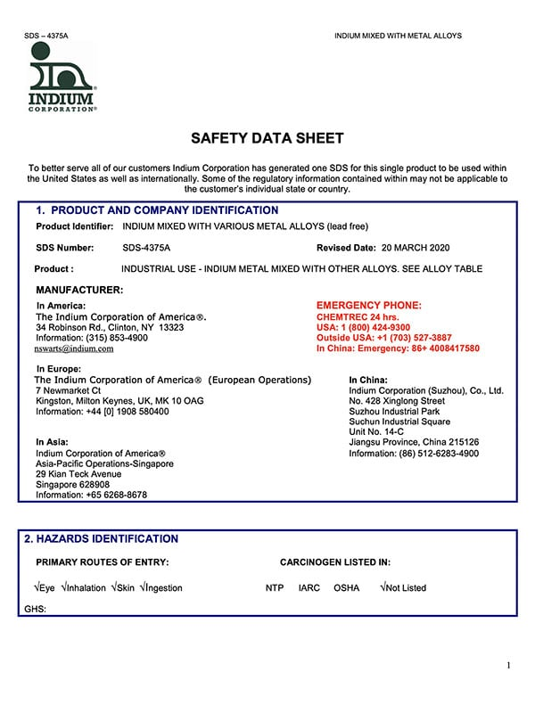 Click here to download the Indium Mixed with Metal Alloys (Lead-Free) Safety Data Sheet